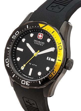 Swiss Military Aqualiner Men's Quartz Watch with Black Dial Analogue Display and Black Silicone Strap 6-4213.13.007.11