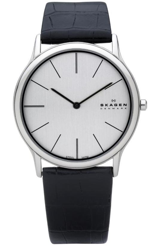 Skagen Mens Ultra Slim Watch 858XLSLC With Leather Strap