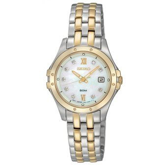 Seiko Ladies Stainless Steel Gold Ion-plated Date Diamond Set Watch SXDE22P9