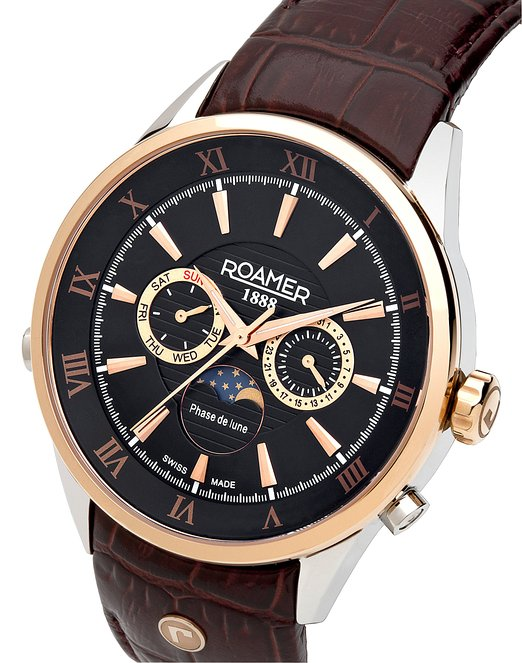 Roamer of Switzerland Superior Moonphase Men's Quartz Watch with Black Dial Chronograph Display and Brown Leather Strap 508821 49 53 05