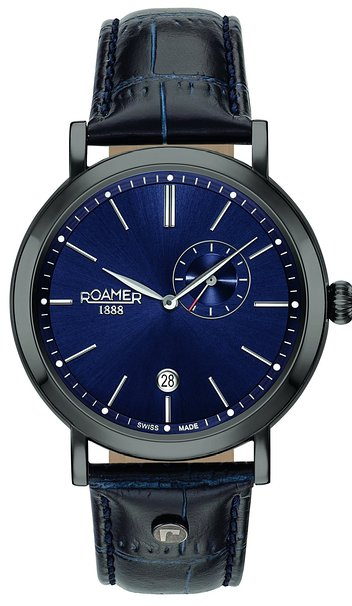 Roamer Vanguard Men's Quartz Watch with Blue Dial Analogue Display and Blue Leather Strap 936950 40 45 09