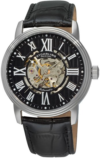 Stuhrling Original Classic Delphi Venezia Men's Automatic Watch with Black Dial Analogue Display and Black Leather Strap 1077.33151