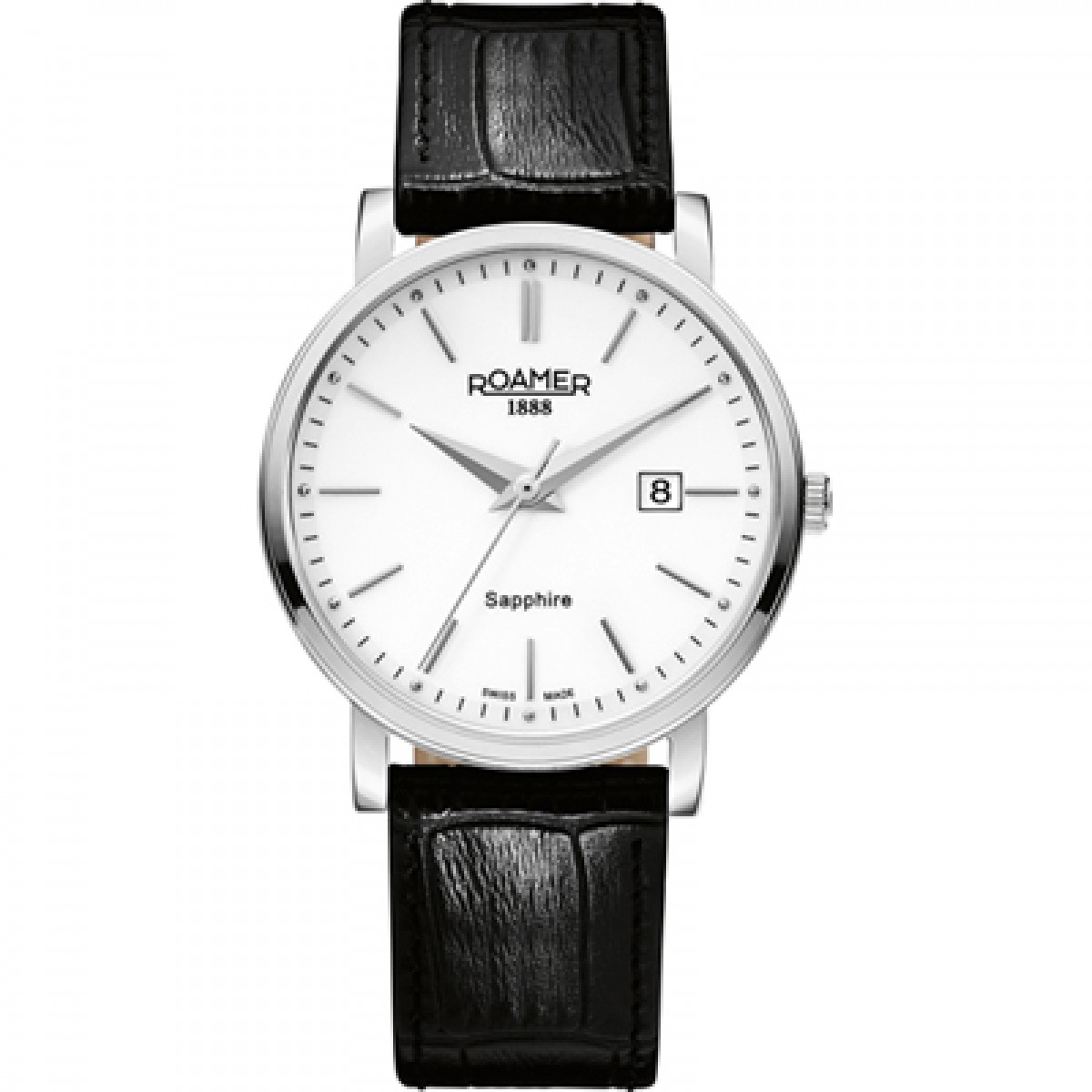 Roamer of Switzerland Classic Line Men's Quartz Watch with White Dial Analogue Display and Black Leather Strap 709856 41 25 07