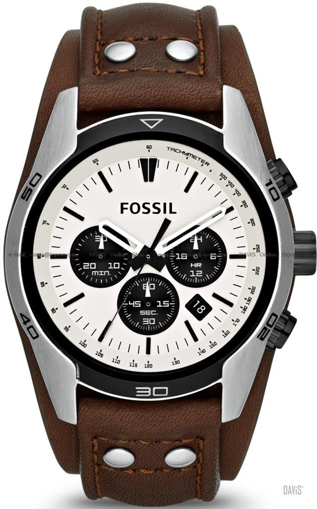 Coachman Fossil Men's Quartz Watch with Black Dial Chronograph Display and Brown Leather Strap CH2890 Sport