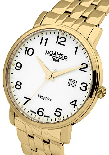 Roamer Classic Line Men's Quartz Watch with White Dial Analogue Display and Gold Stainless Steel Bracelet 709856 48 26 70