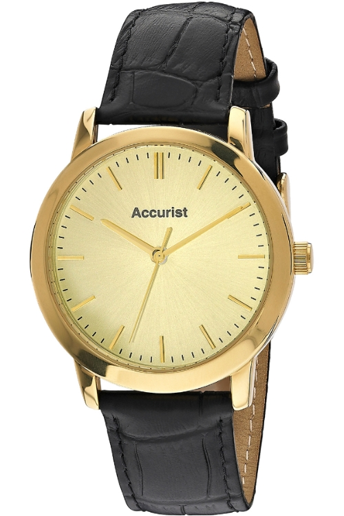 MS671G Gents Gold Plated Black Leather Strap Accurist Watch