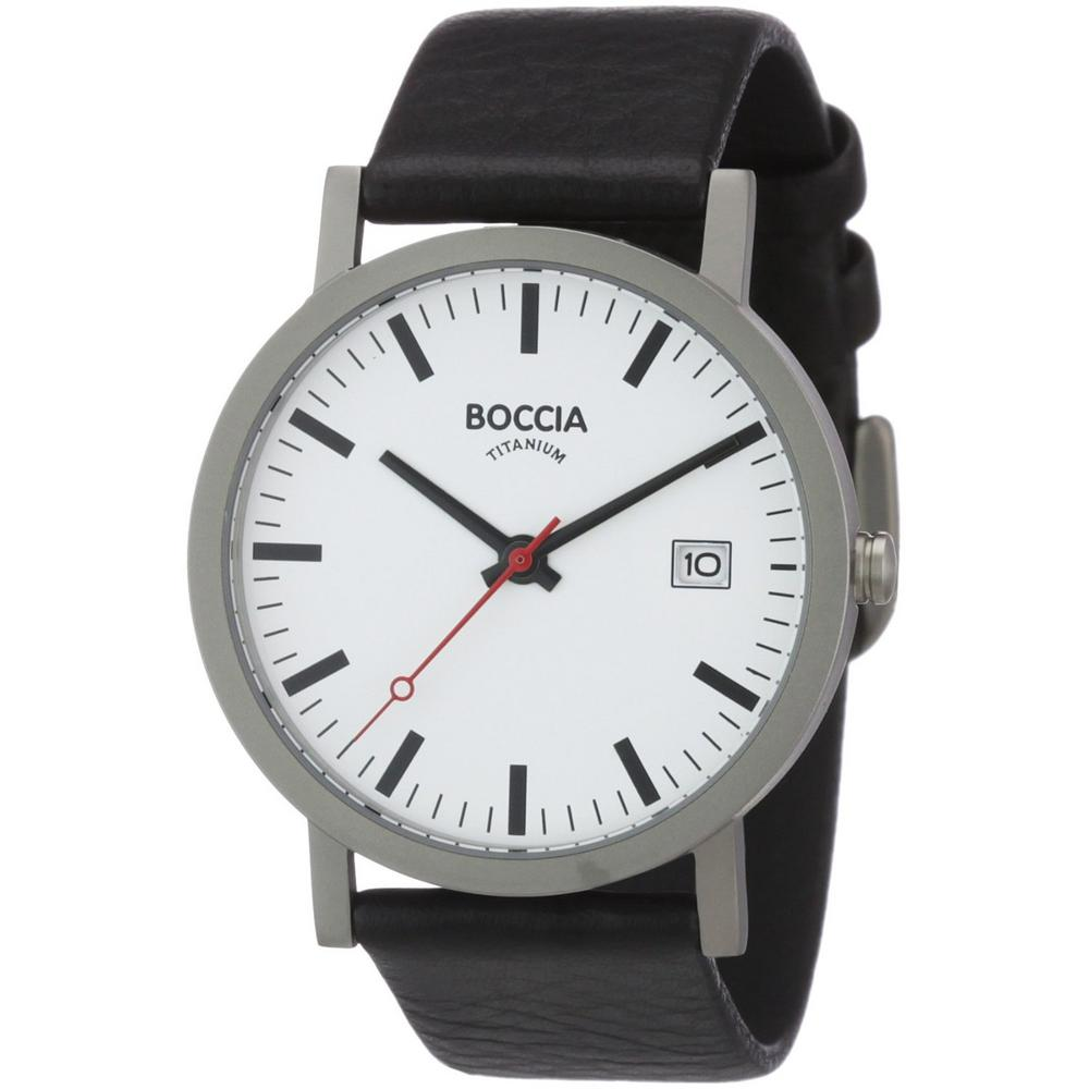 Boccia Men's Titanium Leather Strap Watch B3538-01