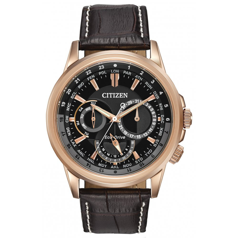 Citizen Watch CALENDRIER men's quartz Watch with black Dial chronograph Display and black leather Bracelet BU2023-04E