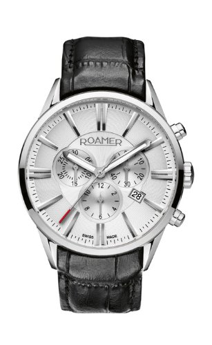 Roamer Superior Men's Quartz Watch with Silver Dial Chronograph Display and Black Leather Strap 508837 41 15 05