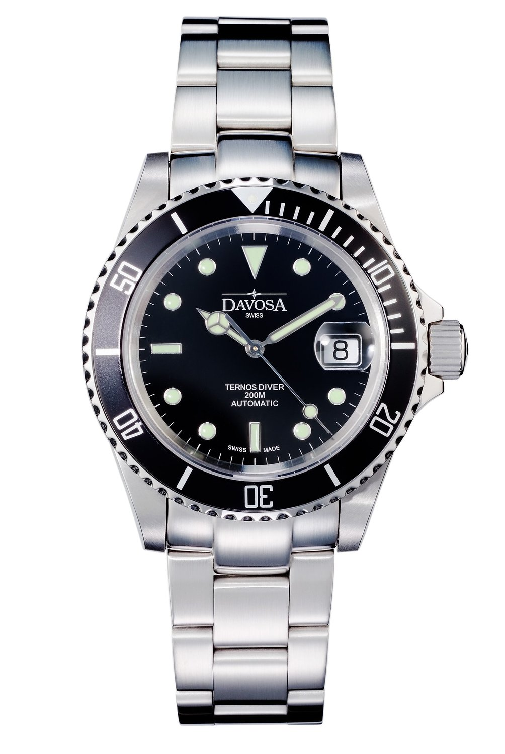 Davosa Ternos Diver Men's Automatic Watch with Black Dial Analogue Display and Silver Stainless Steel Bracelet 16155550