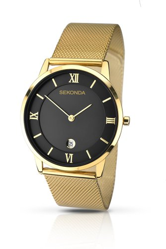 Sekonda Men's Quartz Watch with Black Dial Analogue Display and Gold Stainless Steel Bracelet 106427