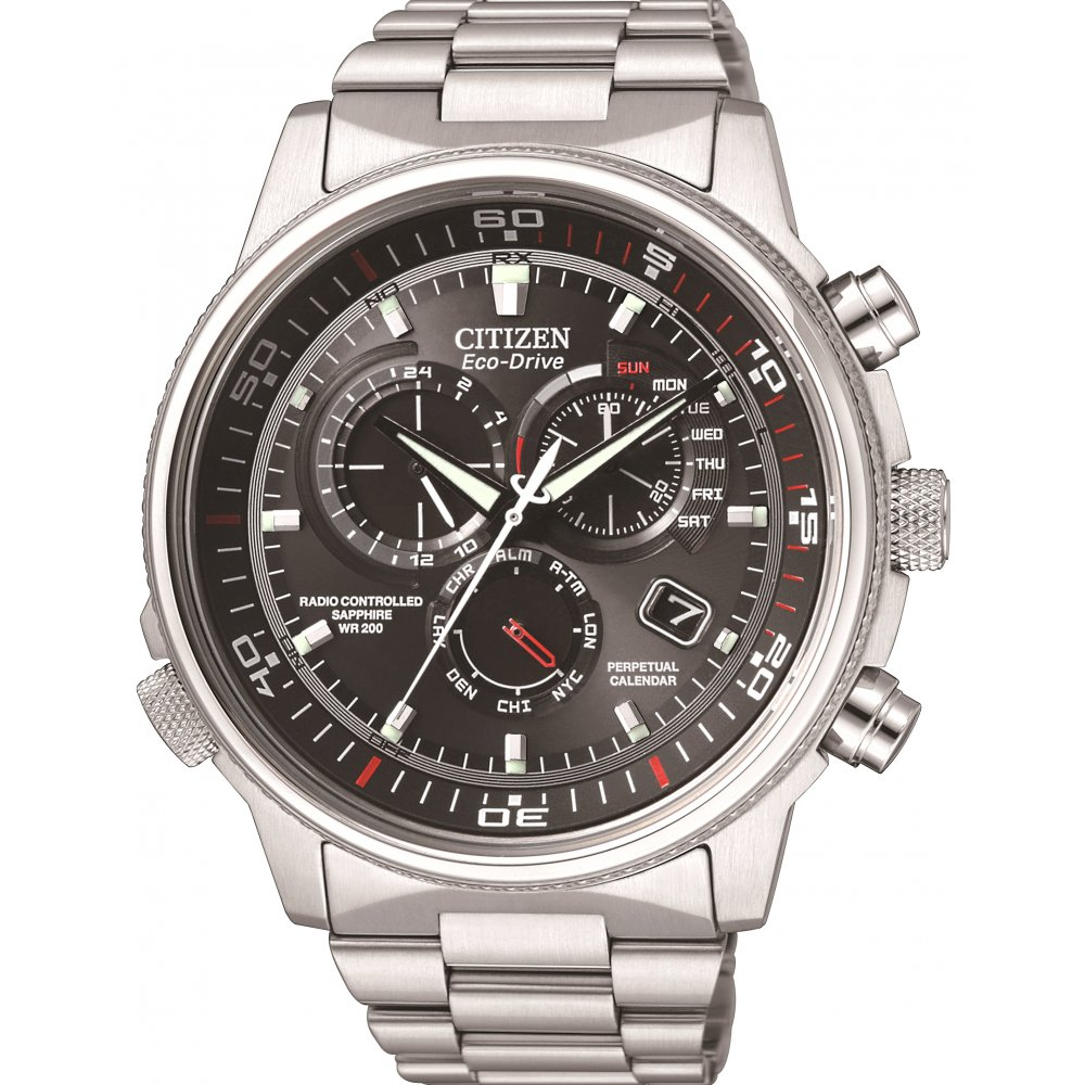 Citizen Watch Nighthawk A.T. Men's Quartz Watch with Grey Dial Analogue Display and Silver Stainless Steel Bracelet AT4110-55E