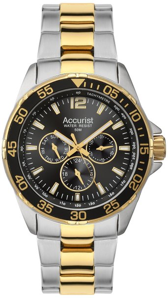 Accurist Men's Quartz Watch with Black Dial Analogue Display and Two Tone Stainless Steel Gold Plated Bracelet MB1041B