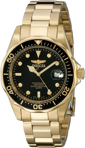 Invicta Pro Diver Unisex Quartz Watch with Black Dial Analogue display on Gold Plated Bracelet 8936