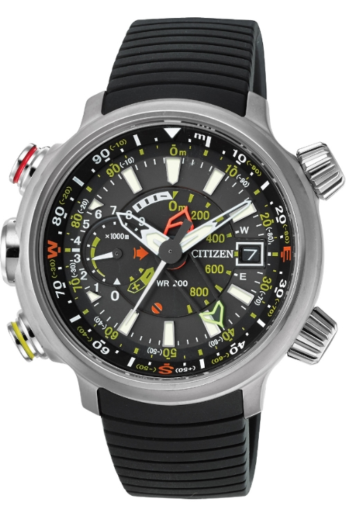 Citizen Promaster Altichron Men's Quartz Watch with Black Dial Analogue Display and Black PU Strap BN4020-05E