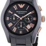Armani Mens Black Ceramic Watch w/ Rose Gold AR1410