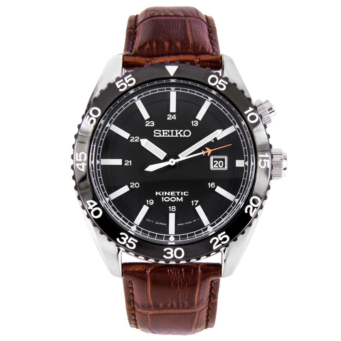 Gents/Mens Stainless Steel Seiko Kinetic Watch on leather Strap, 100M Water Resistant SKA617P2