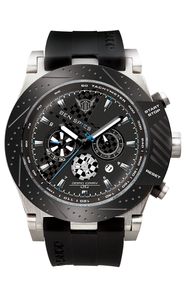 Jorg Gray Ben Spies Limited Edition Chrono Men's Quartz Watch with Black Dial Chronograph Display and Black Silicone Strap JG6700-11
