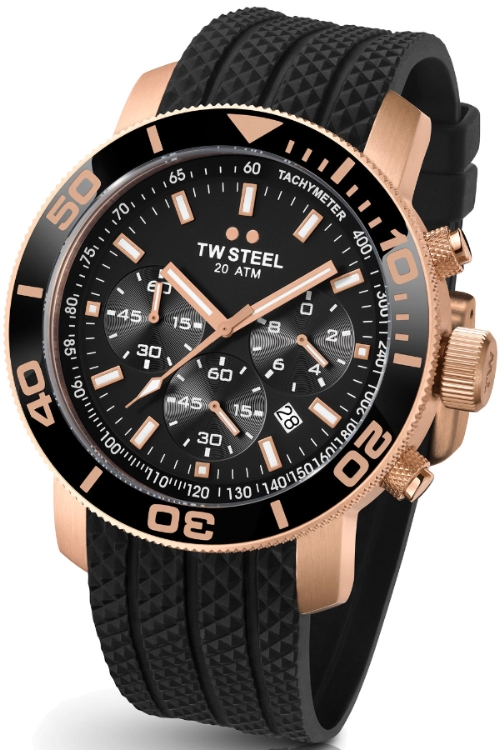 TW Steel Grandeur Diver Unisex Quartz Watch with Black Dial Chronograph Display and Black Silicone Strap TW703