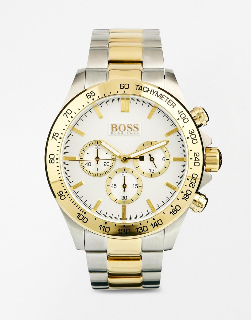 Hugo Boss 1512960 44mm Stainless Steel Case Multicolor Two Tone Stainless Steel Mineral Men's Watch
