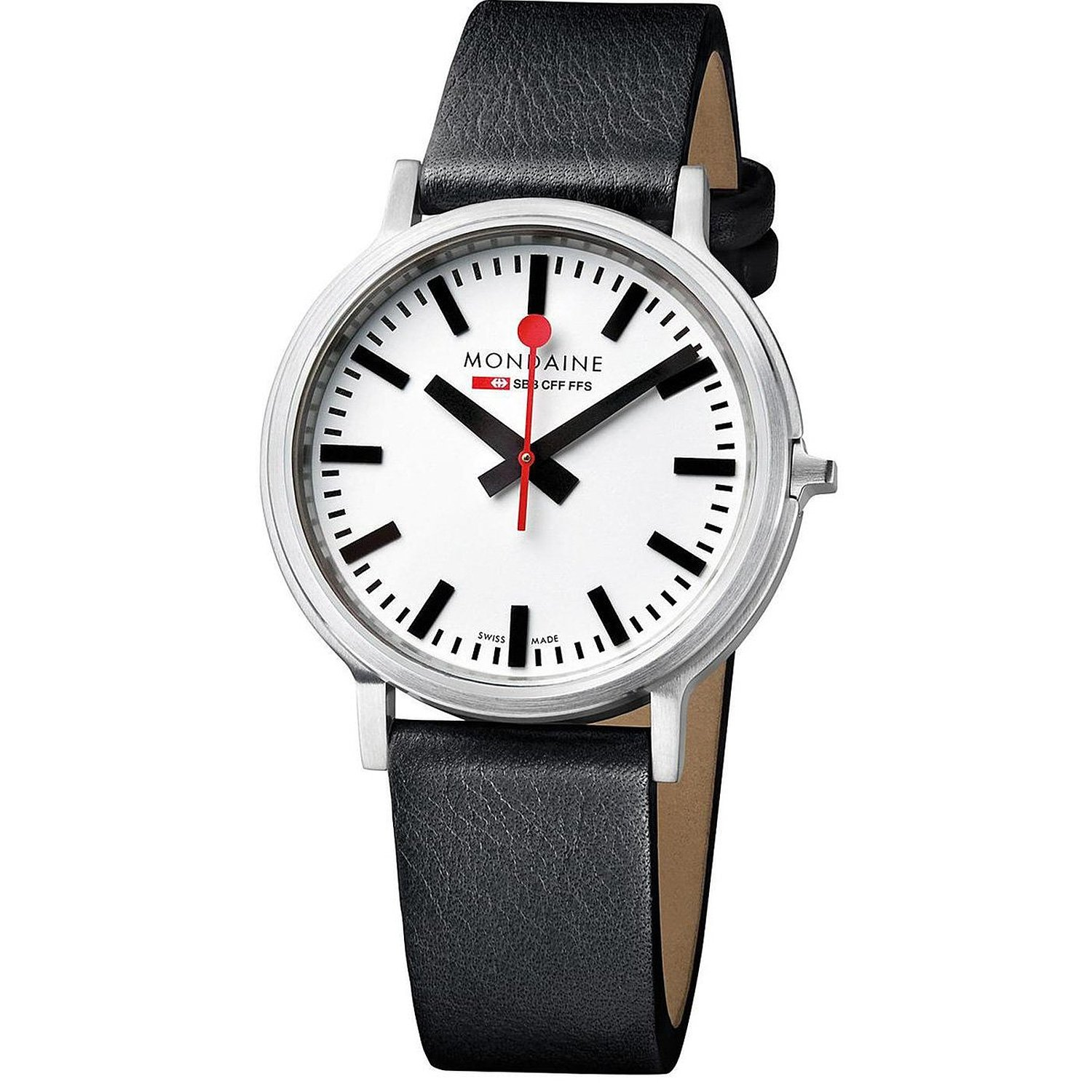 Mondaine Stop 2 Go Men's Quartz Watch with White Dial Analogue Display and Black Leather Strap A5123035816SBB