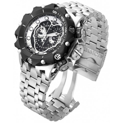 Invicta Men's Venom Steel Bracelet & Case Swiss Quartz Black Dial Analog Watch 16809