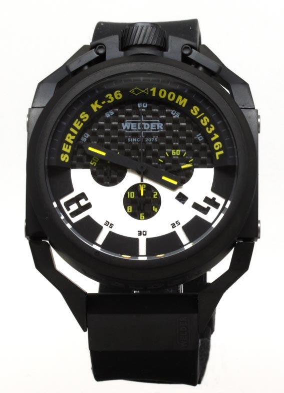 Welder Men's Quartz Watch with Black Dial Chronograph Display and Black Rubber Strap K36-2402