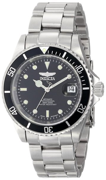 Invicta Pro Diver Men's Automatic Watch with Black Dial Analogue display on Silver Stainless Steel Bracelet 9937OB