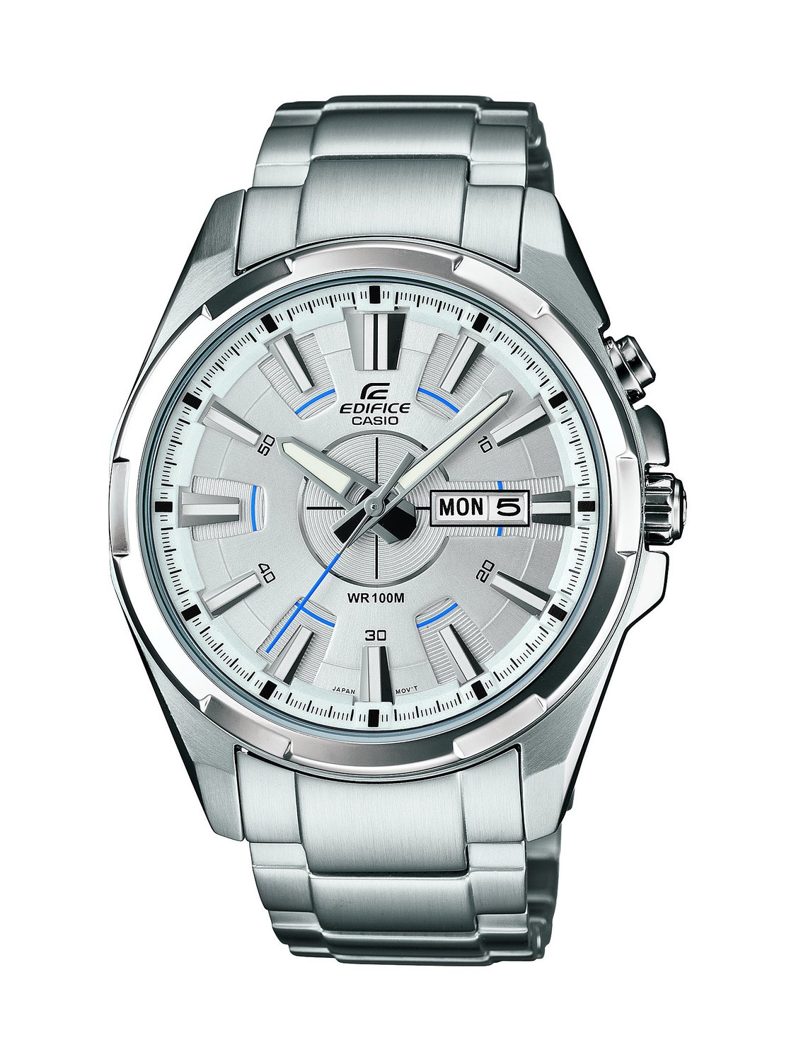 Edifice Men's Quartz Watch with White Dial Analogue Display and Silver Stainless Steel Bracelet EFR-102D-7AVEF