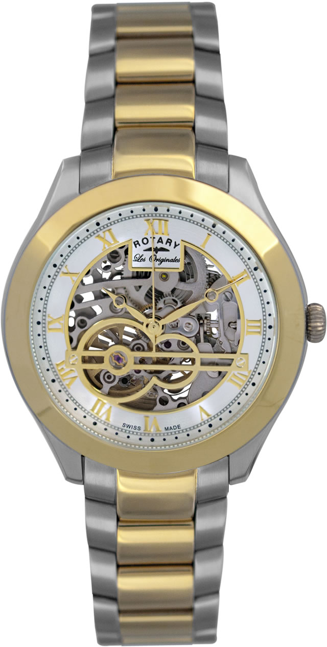 GB90515/10 Gents Rotary Les Originales 'Jura' Stainless Steel and Gold Plated Bracelet Watch