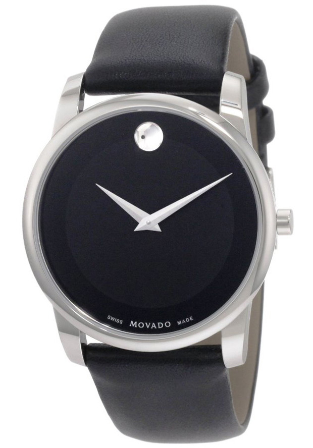Movado Men's 40mm Black Leather Band Steel Case S. Sapphire Quartz Analog Watch 606502