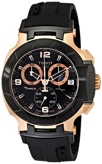 Tissot T-Race Rose Gold T0484172705706 45 Automatic Stainless Steel Case Black Rubber Men's Watch
