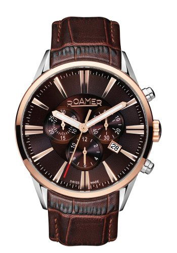 Roamer Superior Men's Quartz Watch with Brown Dial Chronograph Display and Brown Leather Strap 508837 41 65 05