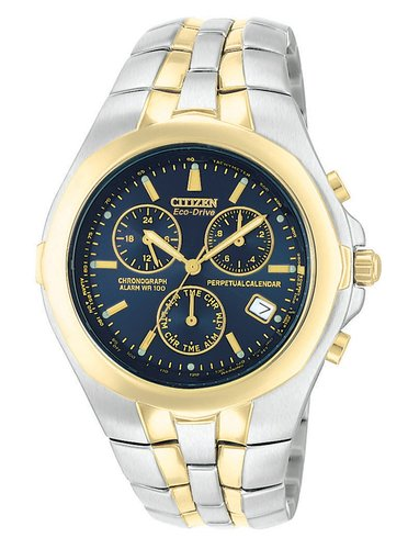 Citizen Men's Eco Drive Watch with Blue Dial Chronograph Display and Two Tone Stainless Steel Plated Bracelet BL5184-56L