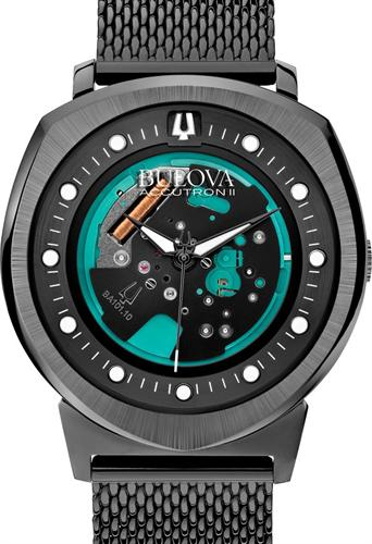 Bulova Accutron II Men's UHF Watch with Black Dial Analogue Display and Black Stainless Steel Bracelet 98A136