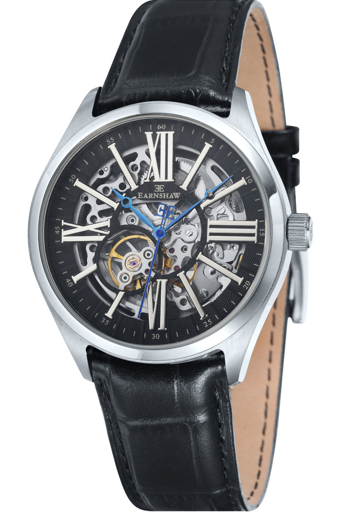 Thomas Earnshaw Armagh Skeleton Men's Automatic Watch with Black Dial Analogue Display and Black Leather Strap ES-8037-01
