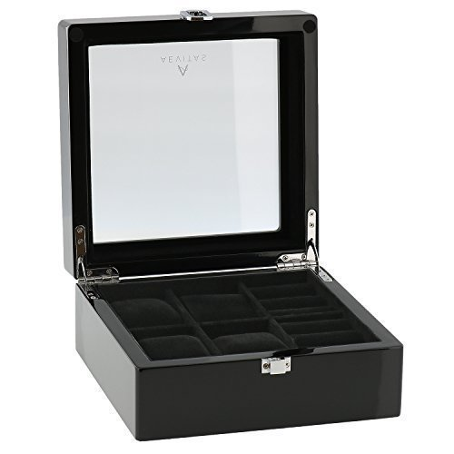 Piano Black Watch and Cufflink Collectors Box for 4 Wrist Watches plus 4 Pairs Cufflink by Aevitas
