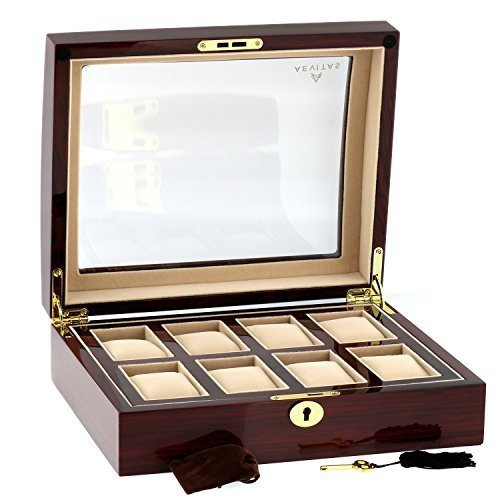 High Quality Watch Collectors Box for 8 Watches with Rose Wood Veneer High Gloss Finish by Aevitas