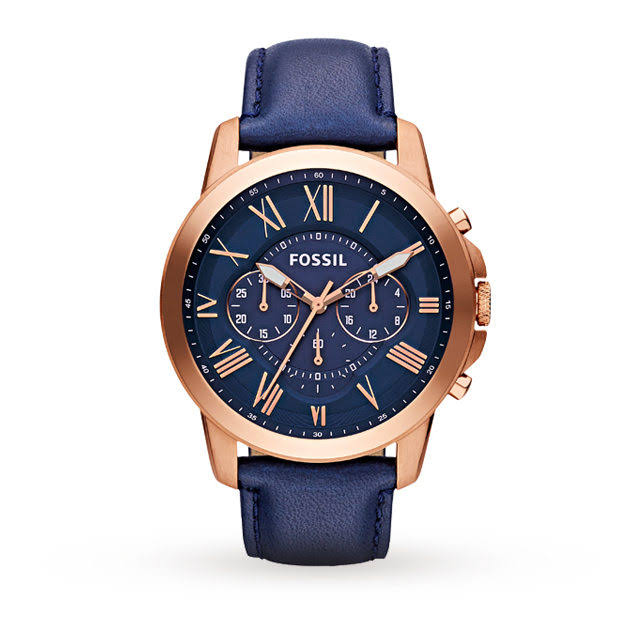 Fossil FS4835 blue and rose gold men's watch