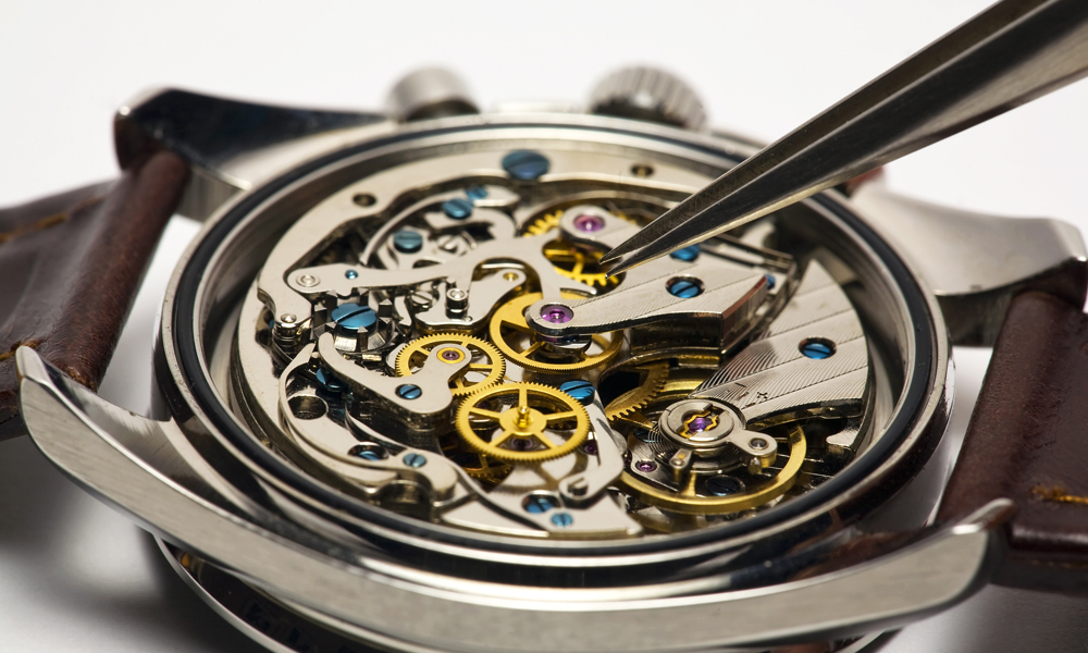 Inner Workings Of A Watch Being Repaired