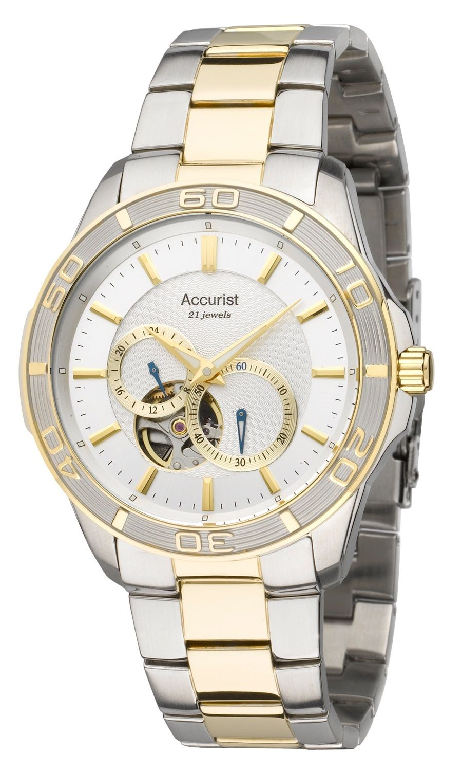 Accurist Pure Precision Men's Automatic Watch with Silver Dial Analogue Display and Multicolour Stainless Steel Plated Bracelet MB911S