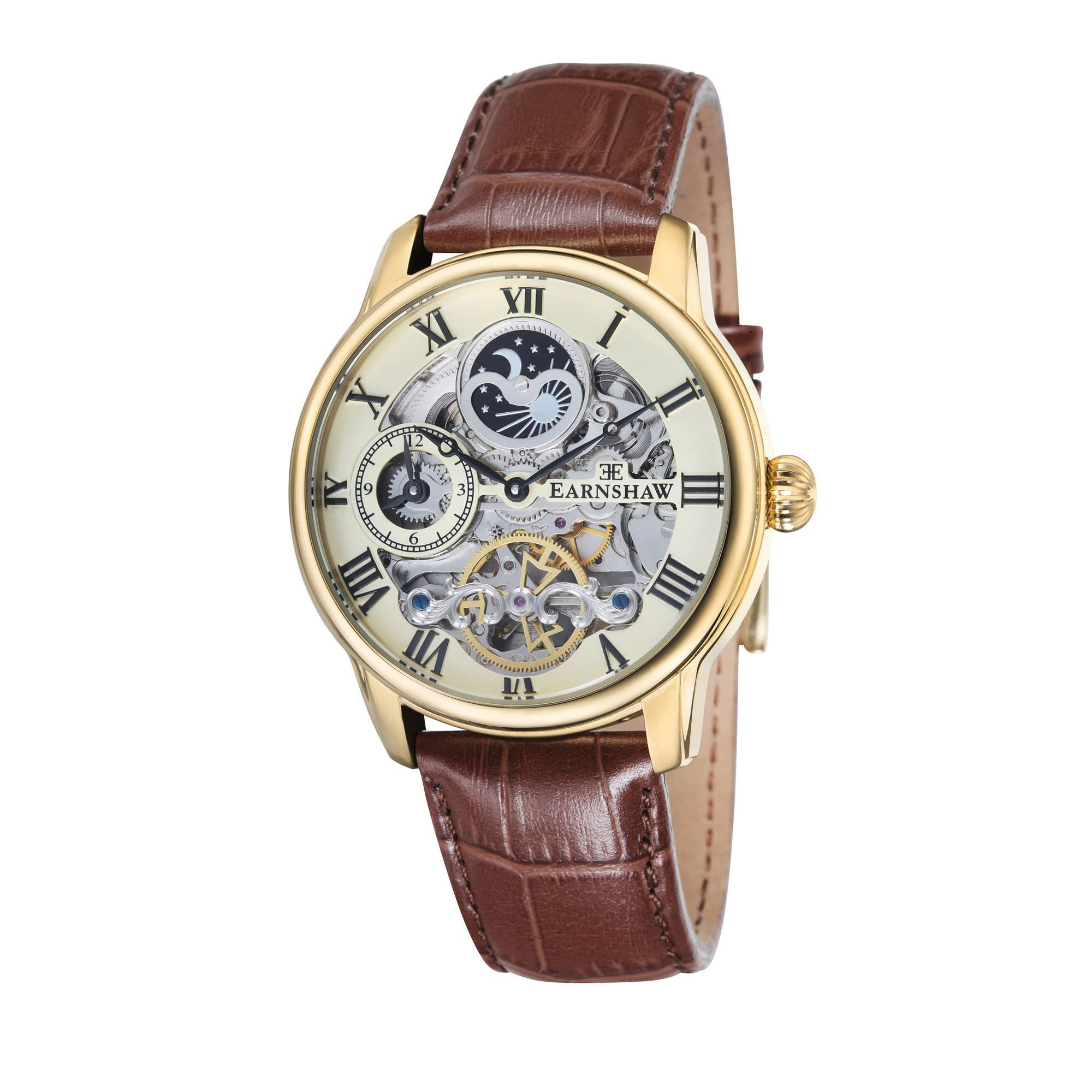 Thomas Earnshaw Londitude Men's Automatic Watch with White Dial Analogue Display and Brown Leather Strap ES-8006-06