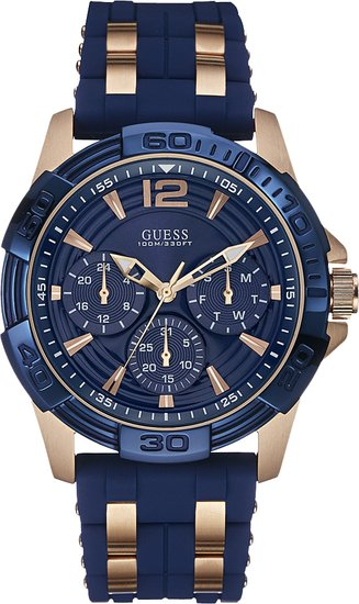 Guess Men's Quartz Watch with Black Dial Analogue Display and Multicolour Silicone W0366G4