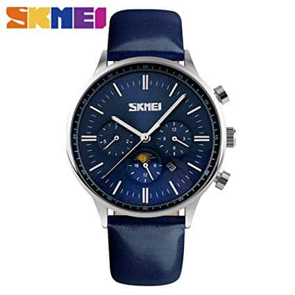 SKMEI Men's Quartz Watch Luxury Watches Relogio Masculino Fashion Casual Blue Genuine Leather Waterproof Mens