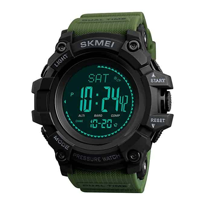 SKMEI Mens Sports Digital Watch Outdoors Military Watches Running Wrist Watch with Compass/Alarm/Countdown for Men