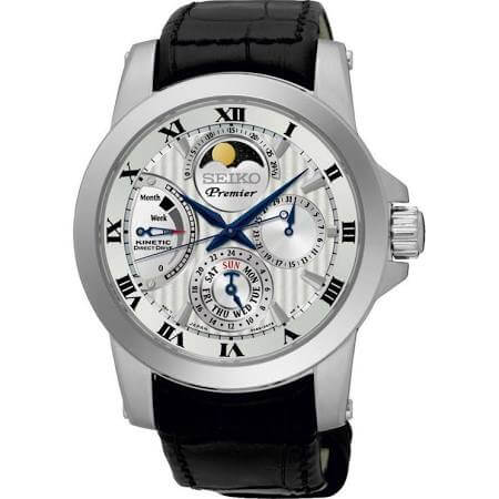 Seiko watch with moon phase display SRX011P2