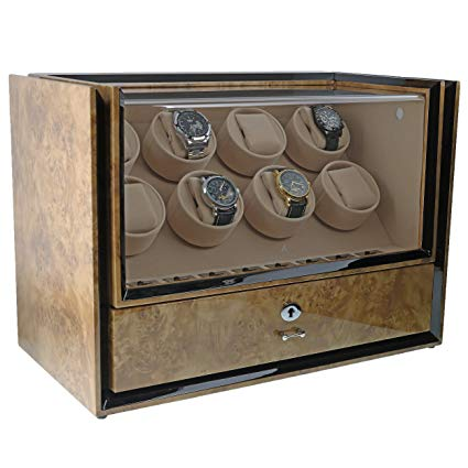 Eight Watch Winder with Storage in Light Burl Wood - Magnum Collection by Aevitas