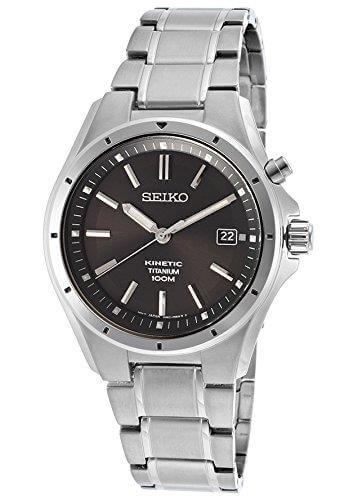 Gents Mens Titanium Seiko Kinetic Watch on Bracelet with Date, 100M Water Resistant. SKA493P1