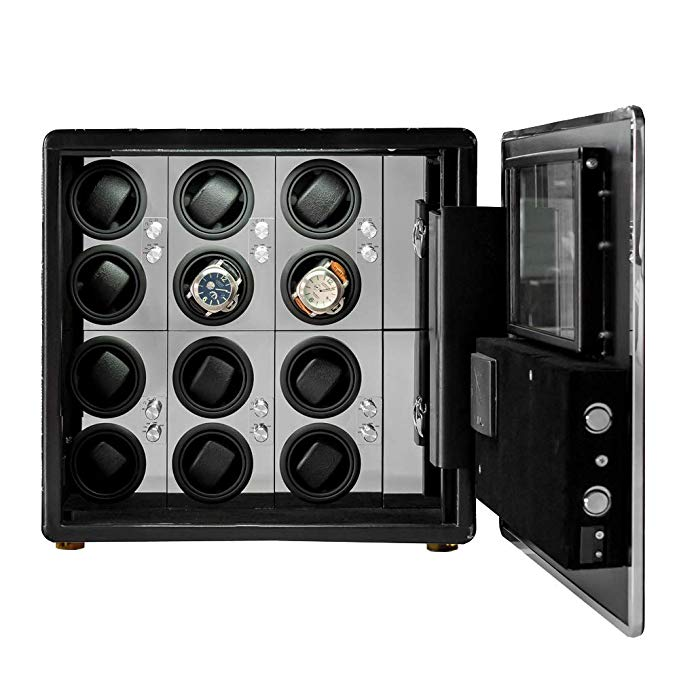 LOEAPEA Automatic Watch Winder Safe Box for 12 Watches with Dual Digital & Card Key Lock Security