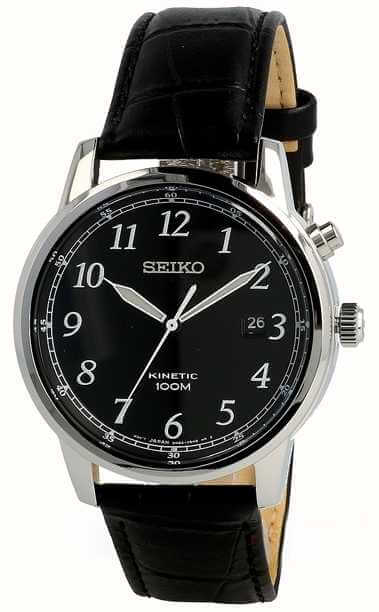 Seiko Men's Analogue Kinetic Watch with Leather Strap SKA781P1